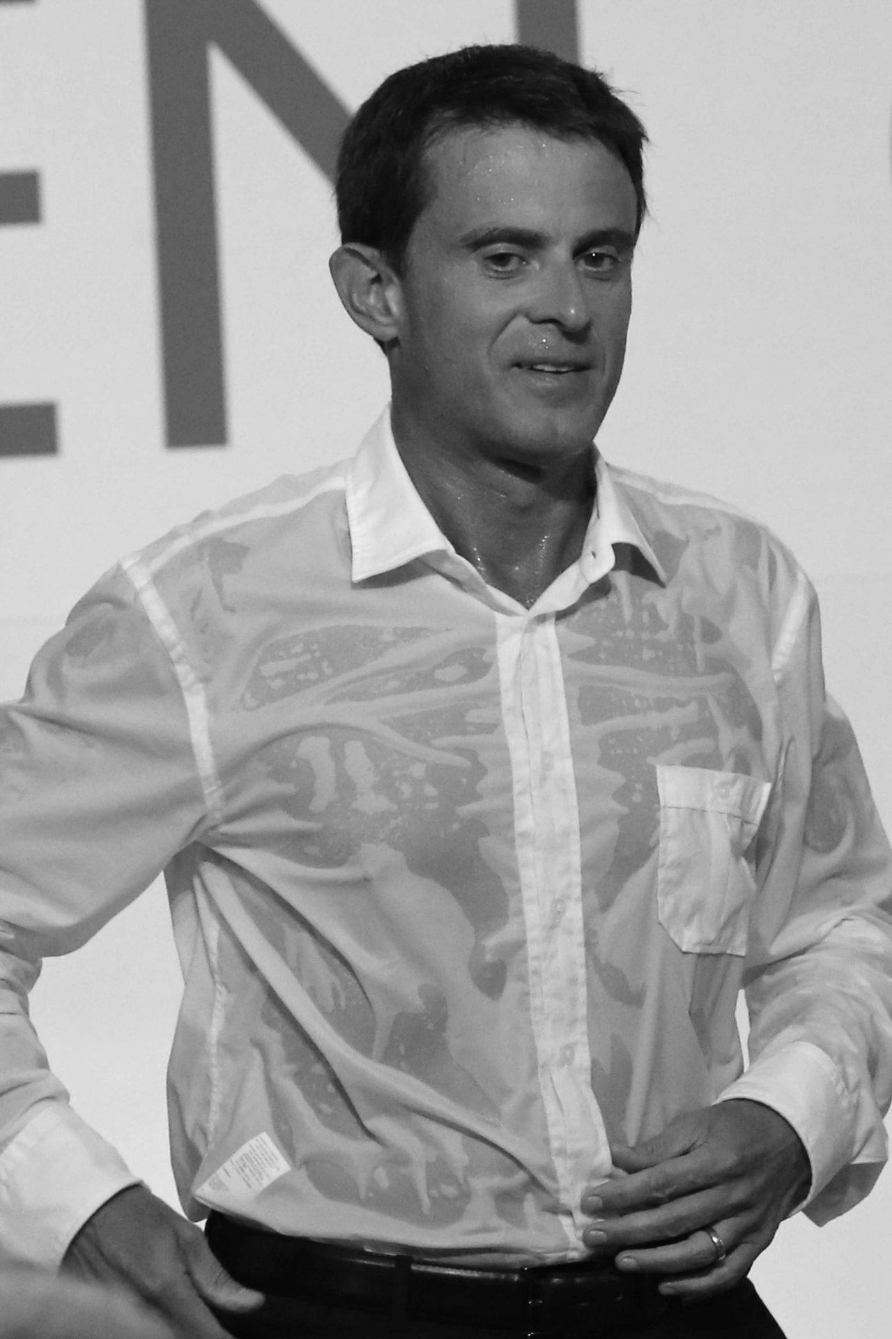 Chemise Manuel Valls noir et blanc