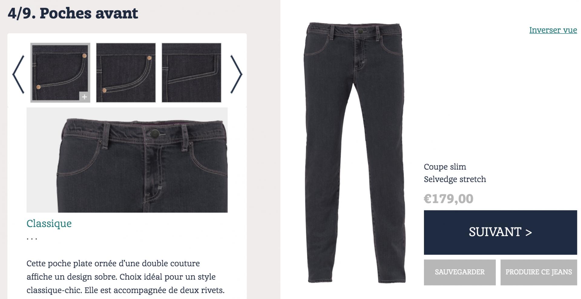 Ici, par exemple, plusieurs choix pour la forme des poches avant.